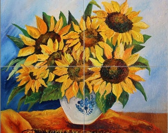"12"" x 12"" Ceramic Tile MuraL Backsplash Sunflower in Vase #1013"