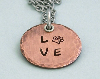 READY TO SHIP - Copper Love Paw Disc Necklace - Hand Stamped Necklace - Dog Lover Necklace - Dog Lover Gift