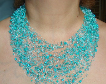 Turquoise air necklace. Multistrand necklace. Beadwork necklace