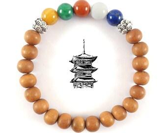 Five elements Tibetan Bracelet with sandal Wood-Spiritual Gift for Travellers