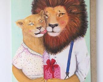Lion Card / Anniversary Card / Animal Couple Card / Engagement Card / Card for Girlfriend / Wedding Card / Marry Me Card, card for boyfriend