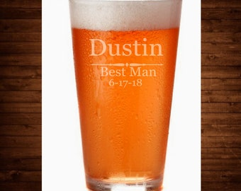 Personalized Engraved / Etched Beer Pint Glasses. SET of 4.