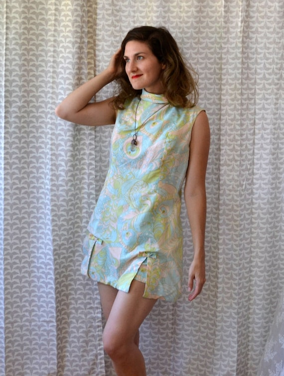 Ice Cream Dream Romper | vintage 60's mint green pastel paisley playsuit