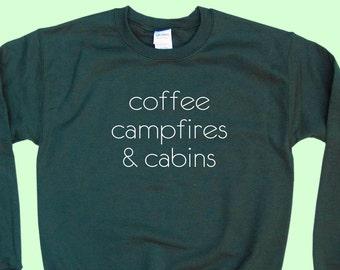 Coffee Campfires & Cabins - Camping Crewneck Sweatshirt