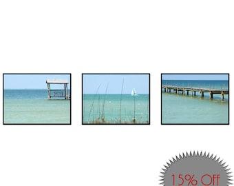 Coastal Wall Art-Set of 3 Photos-Fine Art Photography-Ocean Photography-Teal Wall Art-Turquoise Wall Art-Beach Art-Sailboat-Original Artwork