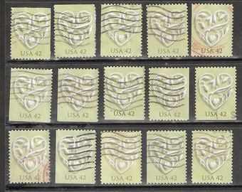 25 WEDDING HEART USED and Cancelled 2008 Used 42c U.S. Postage Stamps (White Heart on Light Green background