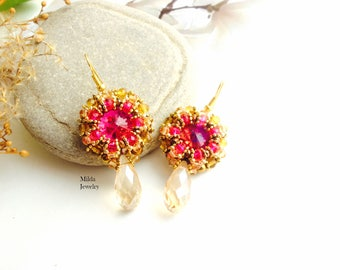 Beadwork jewelery, Pink and gold earrings, handmade glass beaded earrings, chandelier bead embroidered earrings, beadweaving