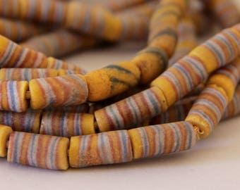 Vintage Dark Yellow with Blue and White Stripes African Sandcast Tube Beads - OASC 106