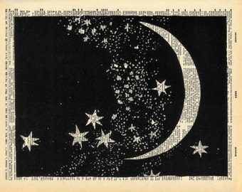 Dictionary Print - Moon and Stars - Vintage Book Art Print - Upcycled Art - Recycled Book Print - Outer Space Constellations Night Sky