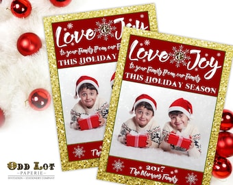Photo Christmas Card, Printable Photo Card, Love and Joy, Gold Glitter and Red, Snowflakes, DIY Printable Card, Holiday Card Printable