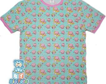 Adult Baby PINK SHEEP snap shoulder baby shirt ABDL