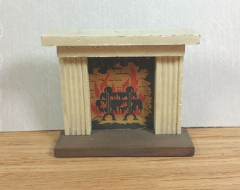 "KAGE FIREPLACE, 1930's - 1940's, 3/4"" Scale, Wood and Painted Cardboard, Vintage Dollhouse Furniture"