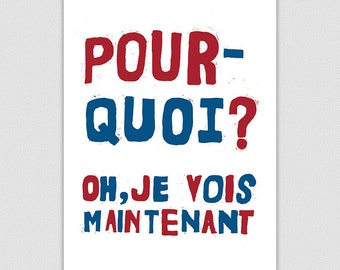 Cool French Style Existentialist Retro Protest Poster Print, Inspirational Print, Pourquoi?, Why?, Home Decor, Mid Century Modern Wall Art