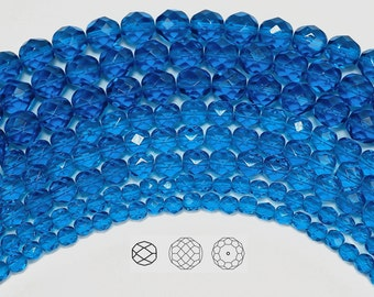 8mm (51pcs) Capri Blue, Czech Fire Polished Round Faceted Glass Beads, 16 inch strand