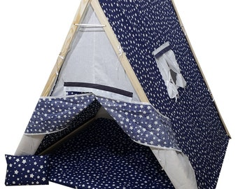 tent playhouse kids children play tent natural cotton canvas indoor outdoor with wood poles floor mat pillow