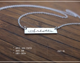 Engraved Custom Name Bar necklace -Personalized Bar Necklace -Custom Name Plate Necklace -Engraved Bar Necklace -Silver Gold Rose Gold Bar.