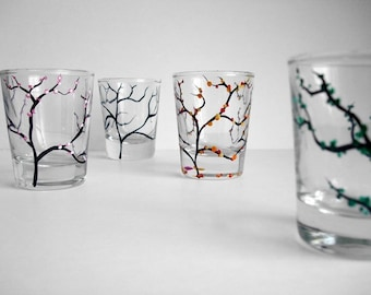 The Four Seasons Shot Glasses - 4 Piece Hand Painted Collection, Painted shot glasses