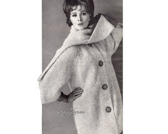 Vintage Mohair Coat knitting pattern in PDF instant download version , PDF downloadable