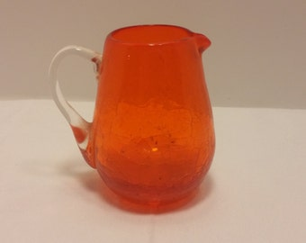 Handblown Windowsill Mini Pitcher with pontil scar and applied handle in orange and clear glass - Crackle finish, Rainbow, Blenko, Pilgrim
