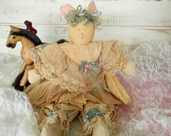 Cloth Bunny Rabbit Doll - Shabby Chic Bunny -