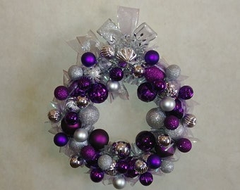 "14"" Purple and Silver Christmas Wreath"