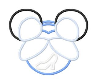Character Inspired Princess Mouse Cinderella with Glass Slipper Embroidery Applique Design