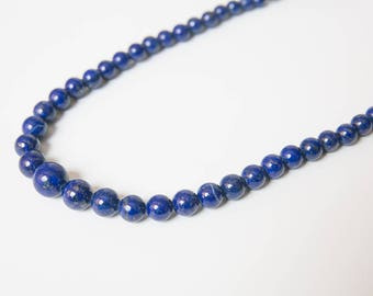 Lapis Lazuli Necklace, blue gemstone necklace, gold flecked navy blue stones, blue beaded necklace