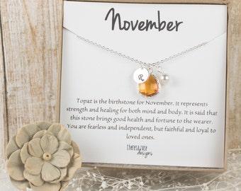 Pierre de naissance novembre personnalisé collier en argent, collier topaze, bijoux anniversaire novembre, Collier argent #869 personnalisé