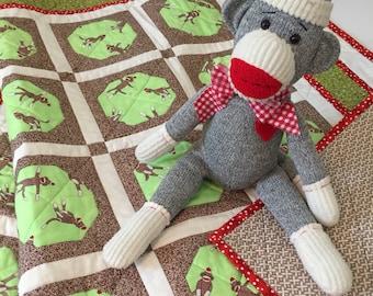 Baby Crib Quilt - Sock Monkeys
