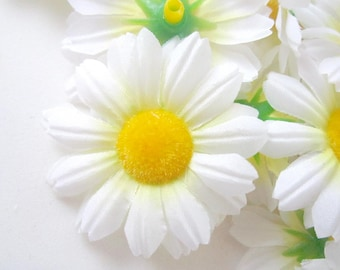 12 White Gerbera Daisy Heads - Artificial Silk Flowers - 1.75 inches - Wholesale Lot - for Bridal Wedding work, Make Hair clips