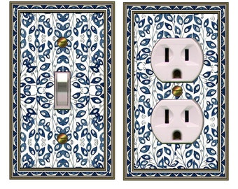 1147X  COMBO of 2 Delft Tile Vines mrs butler switch plate covers -