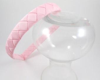 Light Pink Headband - Pink Headband - Ribbon Woven Headband - Light Pink - Hard Plastic Headband - Child Toddler Teenager Adult Headband