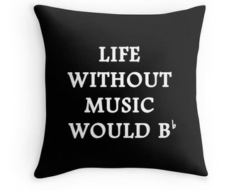 Music Pillow, Music Quotes, Music Bedding, Music Toss Pillow, Music Bedding, Singer Quotes, Musician Gifts, Music Room Decor, Music Art