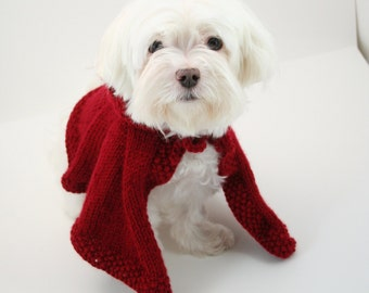 PDF DIGITAL PATTERN:Knit Dog Cape Pattern,Little Red Riding Hood Pattern,Knit Dog Clothes Pattern,Knit Dog Sweater Pattern,Small Dog Sweater