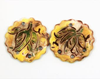Une Paire leaves connectors, yellow, green, boho, hippy, enameled, 4 holes, ceramic components for jewelry, art bead, pottery, unique ooak