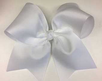 Large Hair Bow, Basic Solid, Wide Ribbon, Hairbows, Girls Bows, Teen Cheer, Cheerleader, Custom Boutique, Competition, Plain Ribbon, White