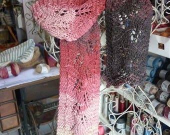 Ombre cotton knit lace scarf