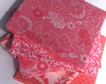 Fabri-Quilt Multi Print Pink Fat Quarter Fabric Bundle great for quilting applique sewing apparel clothing hand bags crafting