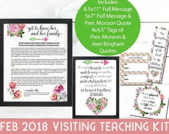 February 2018 Visiting Teaching Kit, Handouts, LDS Printables, Relief Society Handouts, Lessons, Quotes, INSTANT DOWNLOAD