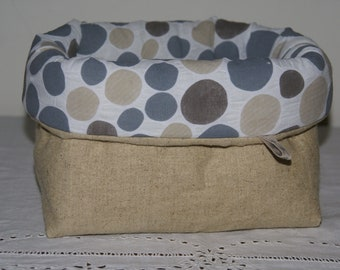 Fabric basket Organizer quilted linen and spotted beige and grey