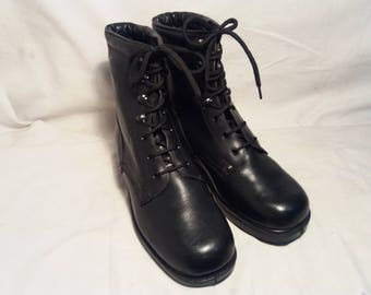 Vintage 1980's Bulgarian Army Black Leather Boots - NEW.