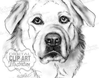 Dog Clipart   Black & White Drawing Download   Clip Art Dog Sketch   Animal Art   Digital Scrapbooking   Scrapbooking Supplies   Dog Art