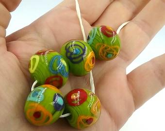5 green Italian glass hollow beads