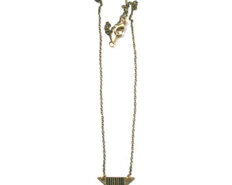 REDANG | Etched Brass Triangle Pendant Necklace with Graphic Lines | ORIGINS Collection