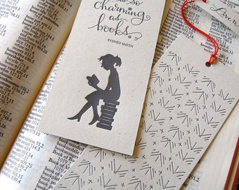 LETTERPRESS BOOKMARK - No furniture is so charming as books. Sydney Smith