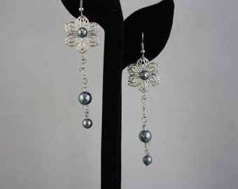 earrings, drop earrings, dangle earrings, pearl earrings, filigree earrings, handmade jewelry