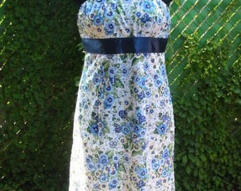 One of  A Kind Blue And White Pansy Print Empire Waist Festival Sun Dress