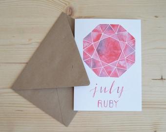 July Birthday Card - July Birthstone Card - Ruby Watercolor Card - Ruby Card - Birthday Card - Watercolor Birthday Card