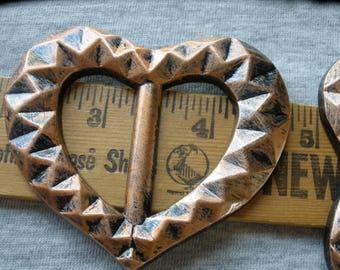 "Textured Heart ribbon slider copper & black 1.25"" buckle crafts t-shirt slide novelty embellish knit scarf crochet cosplay"