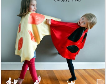 Set of 2 Child Ladybug and Butterfly Capes Handmade Children Toddler Kids